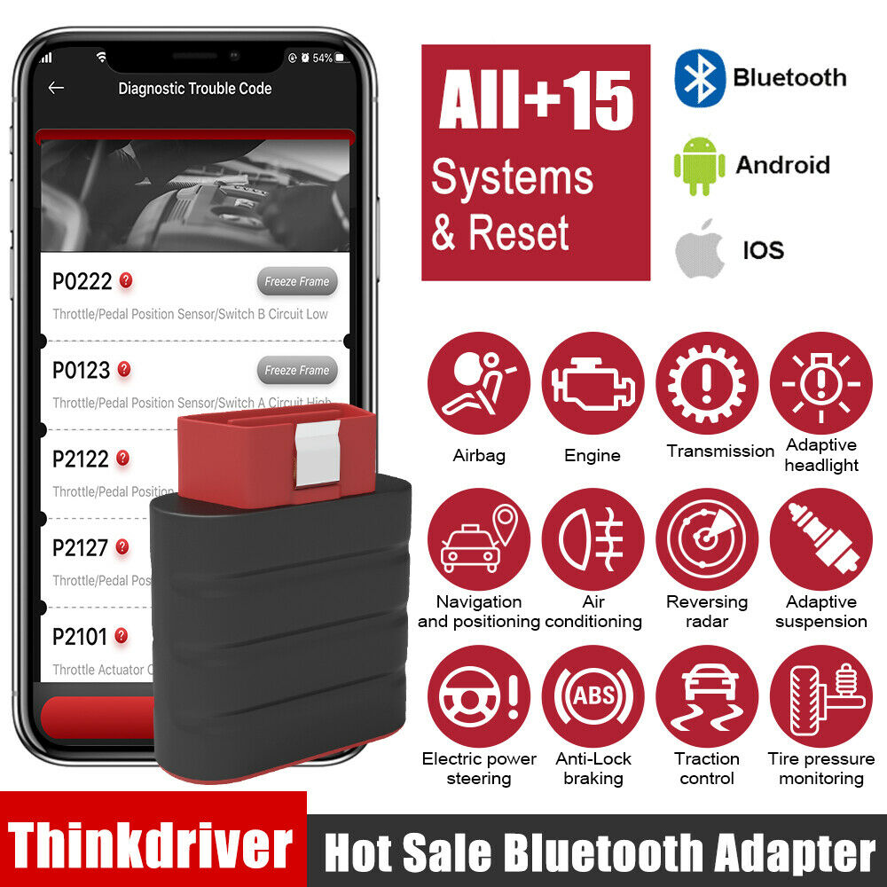 Thinkcar Thinkdriver OBD2 Automotive Scanner Bluetooth Full System 15 Reset Functions OBD 2 Scanner Car Diagnostic Tool PK AP200