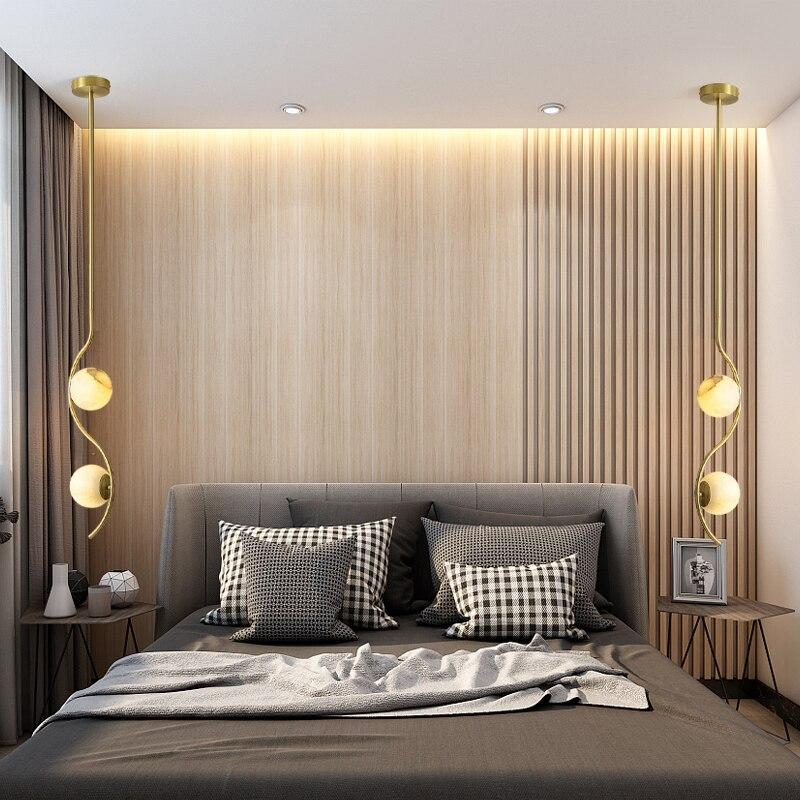Nordique LED chambre chevet pendentif lumière intérieur doré cuivre 2 têtes boule de verre longue ligne plafonnier décoration de la maison luminaires
