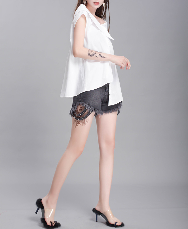 New Fashion Style Bandage Bow Asymmetrical Blouse Fashion Nova Clothing