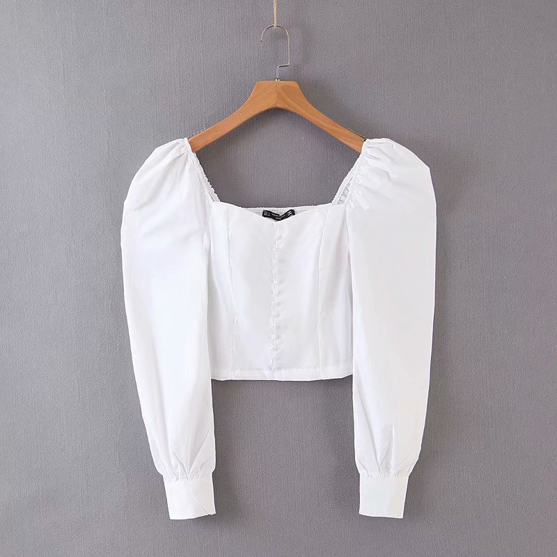 women fashion solid color casual slim smock   blouse     shirts   women vintage square collar back elastic white blusas chic tops LS4218