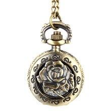 Moda Vintage reloj de bolsillo de cuarzo aleación ahueca hacia fuera las flores mujeres señora niñas COLLAR COLGANTE suéter cadena reloj regalos PR venta
