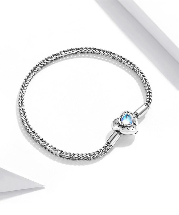 Heart-Shaped Charm & Beads Bracelet 925 Sterling Silver Snake Chain Basic Bracelet For Women Moonstone Jewelry 17CM 19CM