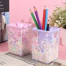 Creative Desktop Large Capacity Squar Shape Pencil Case Cute Foam Ball Style Transparent Pen Holder Decoration Storage