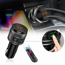 QC3.0 Wireless Bluetooth FM Radio Adapter Music Player FM Transmitter Car Kit with Hands-free Calling Support USB Drive Charger bluetooth fm transmitter wireless in car radio transmitter adapter car kit universal car charger with dual usb charging ports