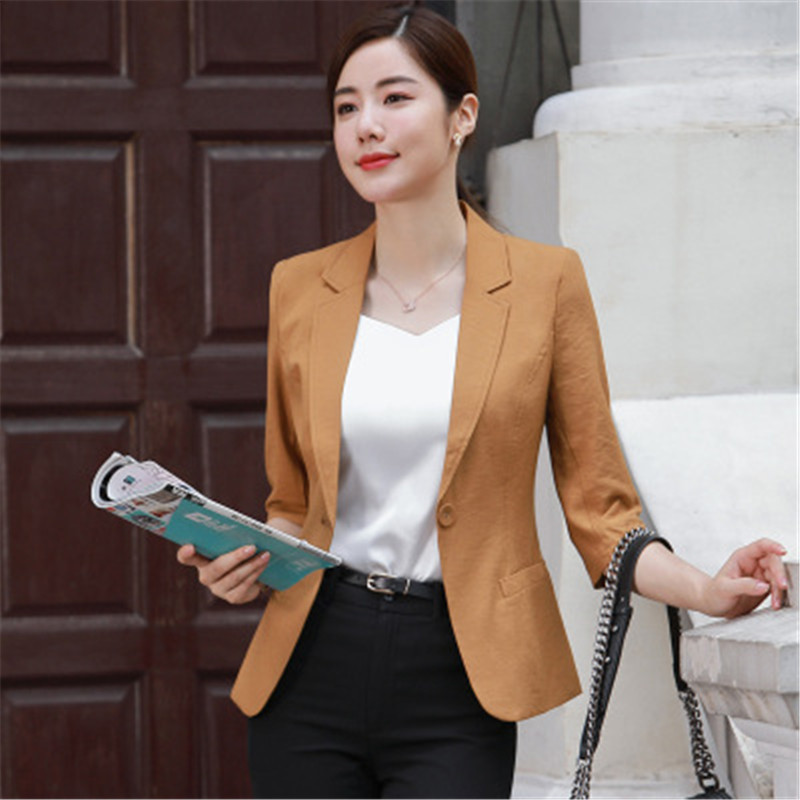 Linen Blazer Women Plus Size 4XL Single Button Half Sleeve Suit Jacket Office Lady Fake Pocket Elegant Thin Blazer Femme RM50156
