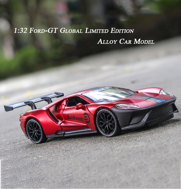 1:32 Ford GT Super Sports Car Zinc Alloy High Simulation Model Pull Back Car Model 3 Open Doors Sound Light Toys For Children