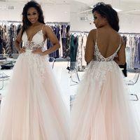 Fashion Double V Neck Evening Dresses Women Lace Appliques Tulle A line Prom Gown Vestidos De Novia