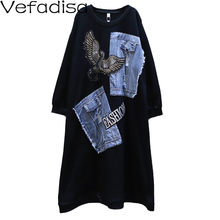 Vefadisa Black Red Eagle Print Women Dress 2020 Autumn Denim Stitching Long Dress Mid-Calf Plus Size Long Sleeve Dress QYF4119(China)