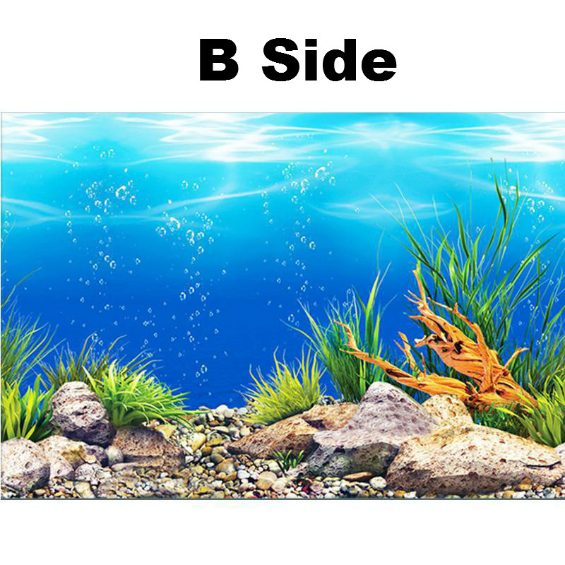New PVC Double Sided Aquarium Background Poster Decoration Fish Tank Wall Background Picture Ocean Fish Aquarium Decor 4 Size