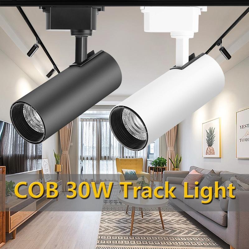Super Bright COB Led Track Lights 30W Track Lamp Light 220V Spotlights Ceiling Rail Track Lighting Fixture For Home Cloth Store