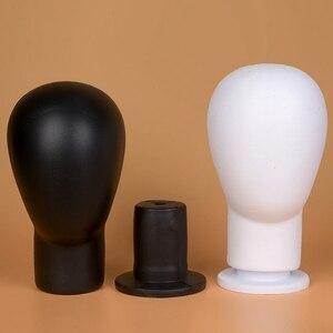 Image 2 - PU ブロック頭発泡マネキンヘッドかつらの帽子毛メガネディスプレイモデルかつらショーケースアイテムダミーヘッド用のブラックスタンド