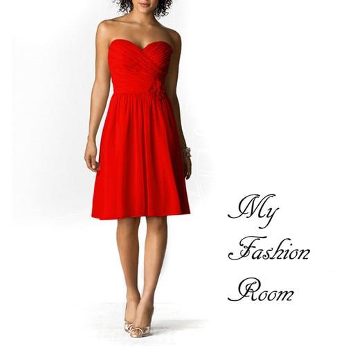 Free Shipping New 2016 Hl Dresses Modest Casual Dresses Sunset Red Strapless Short Chiffon 'Gemma' Handmade Hot Bridesmaid Dress