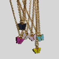 Einfache Mini Schmetterling Anhänger Halsketten Candy Farbe Schmetterling Halskette Aussage Vintage Neckless Schlüsselbein Kette Frauen Schmuck