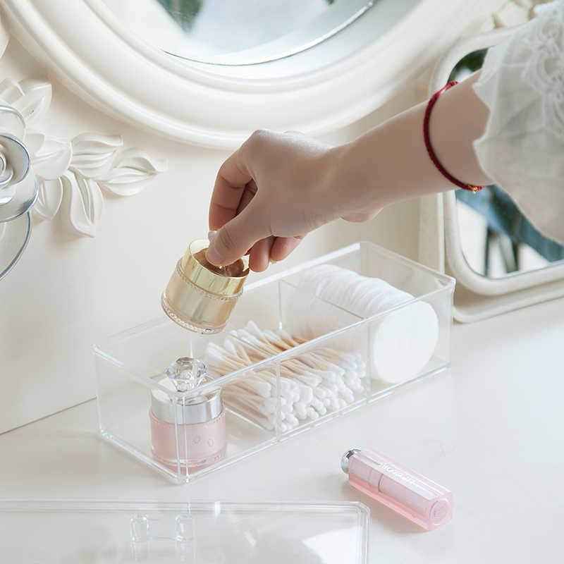 Прозрачная косметическая коробка для хранения, органайзер для макияжа, трехцветный хлопковый тампон, коробка для хранения, Настольный акриловый материал