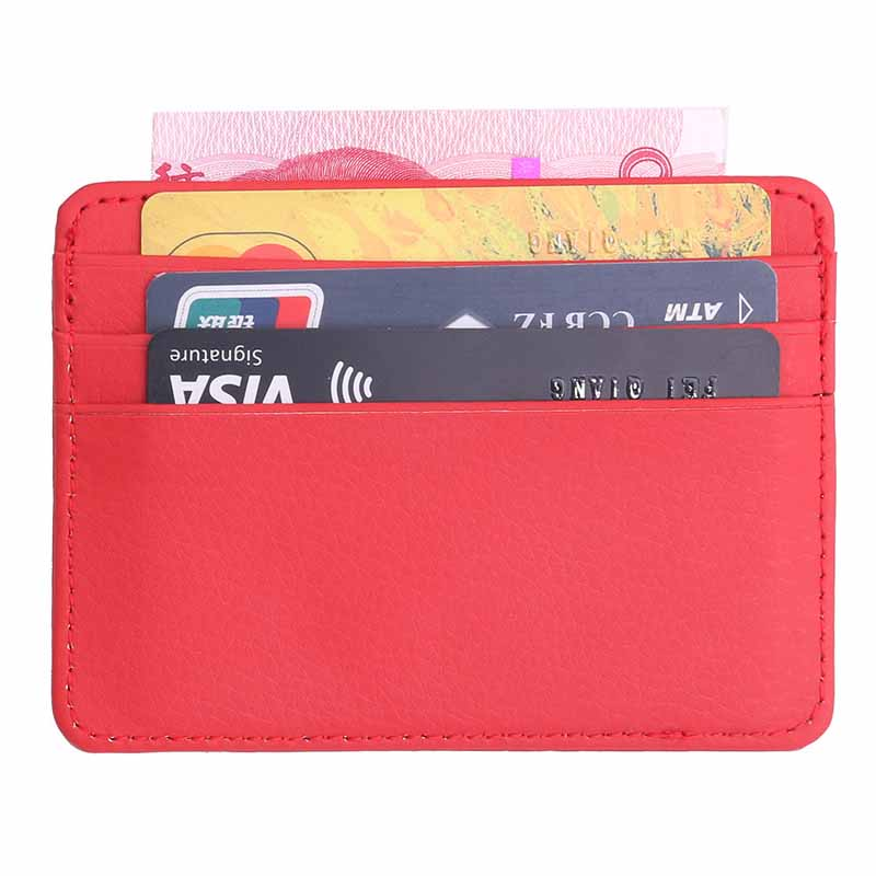 Neutral Small Wallet Ladies Card Bag Men's Thin Card Wallet Business ID Card Holder Lychee Pattern Bank Card Bag Coin Bag Holder