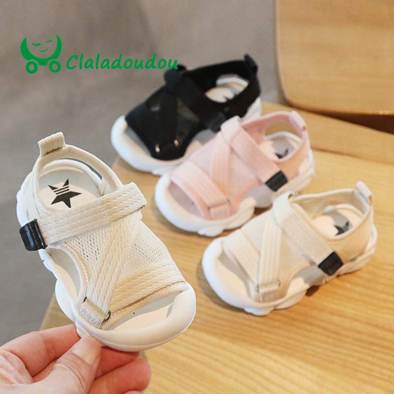 Claladoudou 12-16CM Kids Sandals Mesh Breathable Baby Girls Hollow Pure Sandals Closed Toe Infant Party Soft Flats Walkers