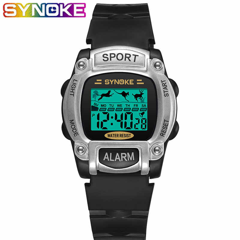 SYNOKE Children Digital Watches Lovely Sports Animal Jumping Waterproof Kid Wrist Watch Week and Date Display Alarm for Children
