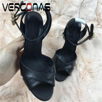 VERCONAS 2020 Sexy Summer Woman Sandals Woman Pumps Classic Design Crystal Decoration Pointed Toe Square High Heeled Shoes Woman