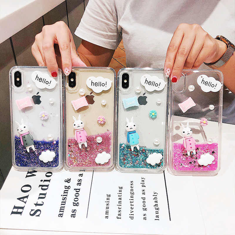 Shockproof silicone phone case iPhone 11 Pro X XR XS Max 8 7 6 6S Plus cute anti-fall soft shell transparent dynamic quicksand