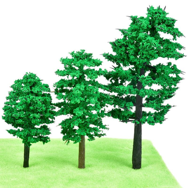 10Pcs DIY Scale Architectural Mini Model Pine Trees Layout Train Landscape Miniatures Tree Building Kits