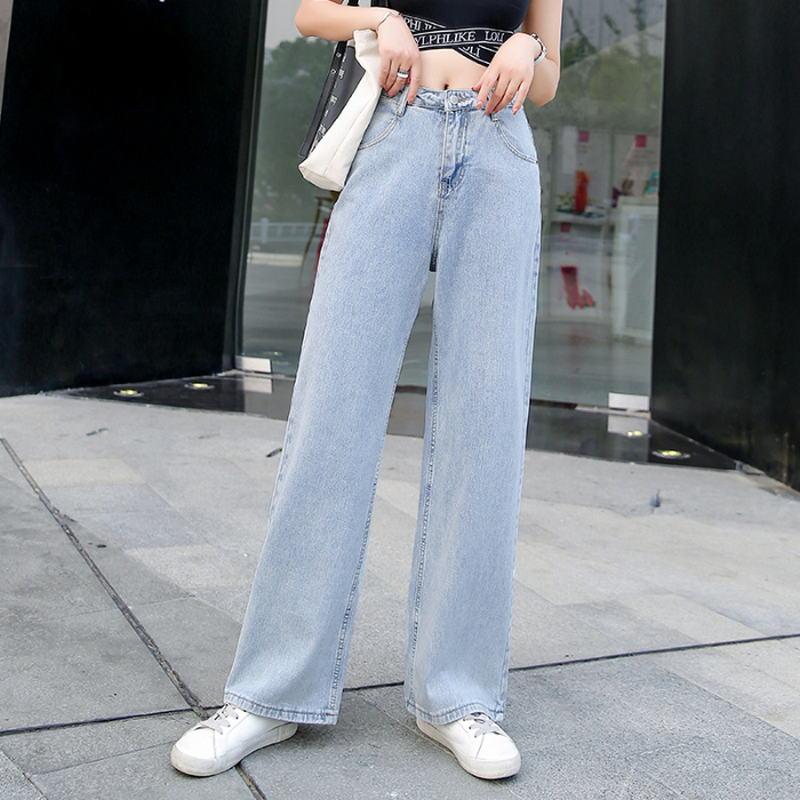 Pantalones Vaqueros Untuk Mujer Pantalones De Mezclilla De Pierna Ancha Y Elegante De Buena Kualitas Gaya Coreano Celana Jeans Aliexpress