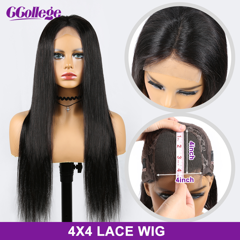 4x4 Lace Closure Wigs Straight Human Hair Wigs For Black Women Brazilian Hair Wigs 8''-24'' Pre-Plucked With Baby Hair Non Remy