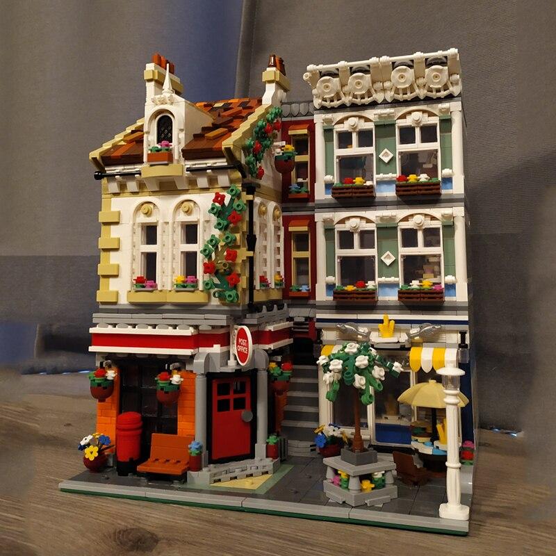 Уличные строительные блоки, квадратная почтовая служба, эксперт-создатель Moc, модульная модель, строительные блоки, кирпичи, игрушки, 3716 шт., ...