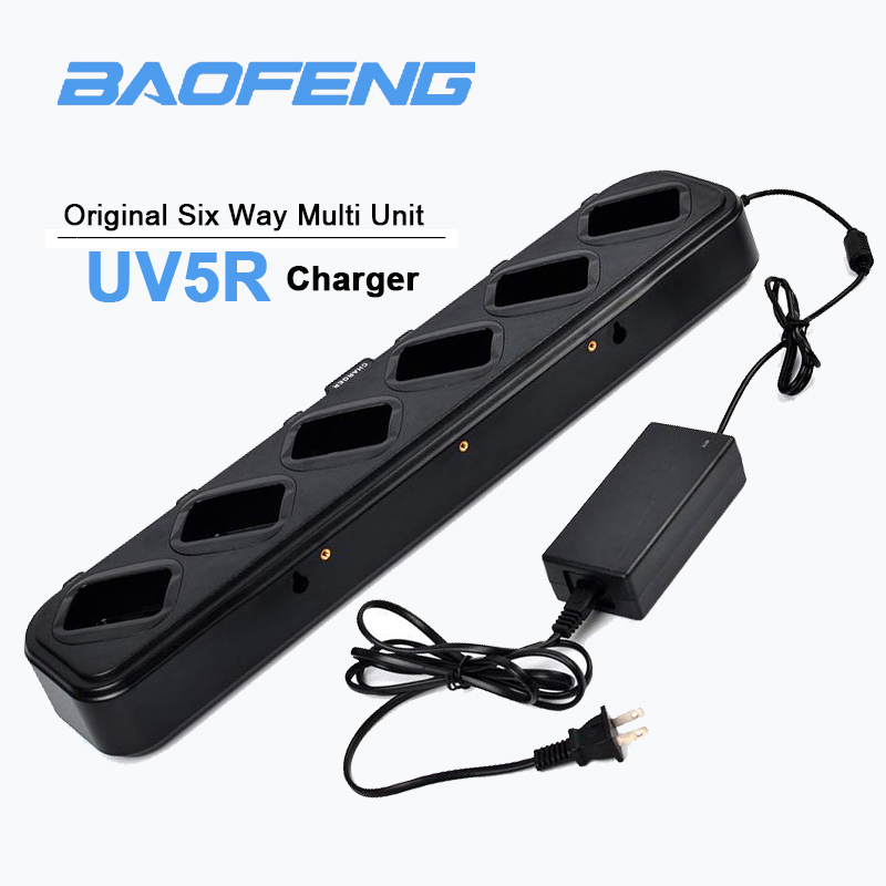 UV-5R Charger Six Way Multi Unit Charger Two-Way Radio Gang Charger Station For Baofeng UV-5R BF-F8HP RT-5R  TH-F8 Walkie Talkie