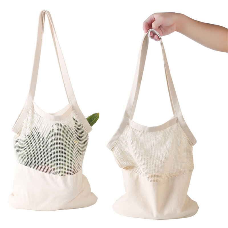 Fashion Reusable Cotton Mesh Fruit Bag String Grocery Fruit Storage Shopping Bag Tote Mesh Net Woven Reusable Shopper
