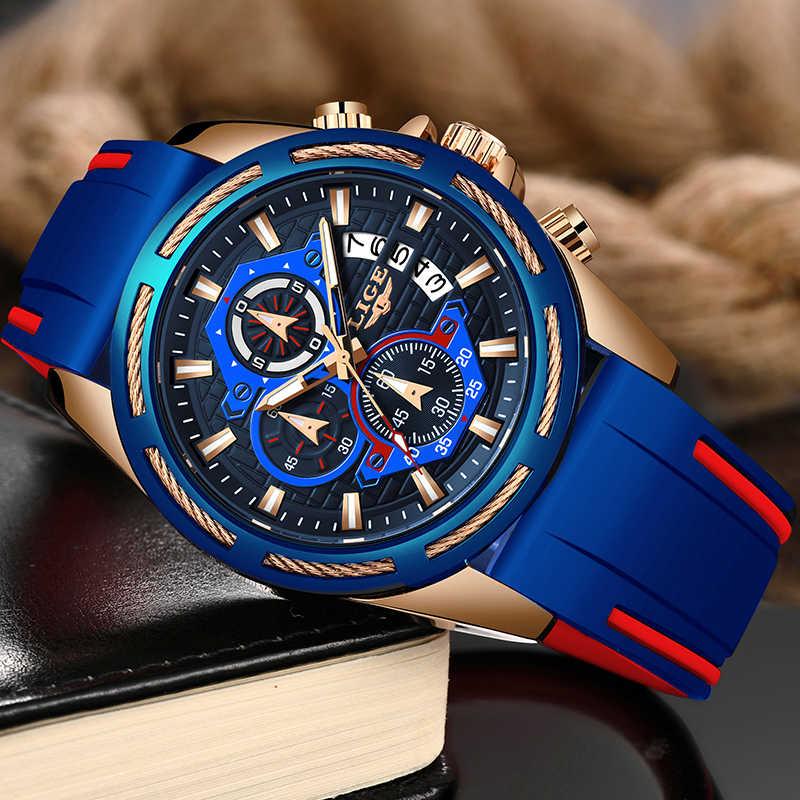2019new lige 실리콘 스트랩 남자 시계 패션 톱 브랜드 럭셔리 비즈니스 빛나는 쿼츠 시계 남자 캐주얼 방수 날짜 시계