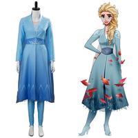 Snow Queen Elsa Cosplay Costume Princess Dress Olaf's Adventure Costume Christmas Blue Gown Women Girls Fancy Dress Halloween