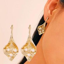 Korean Fashion Jewelry Exquisite Rhinestone Enamel Crystal Christmas Geometric Flower Earrings Retro Women's Jewelry Wholesale(China)