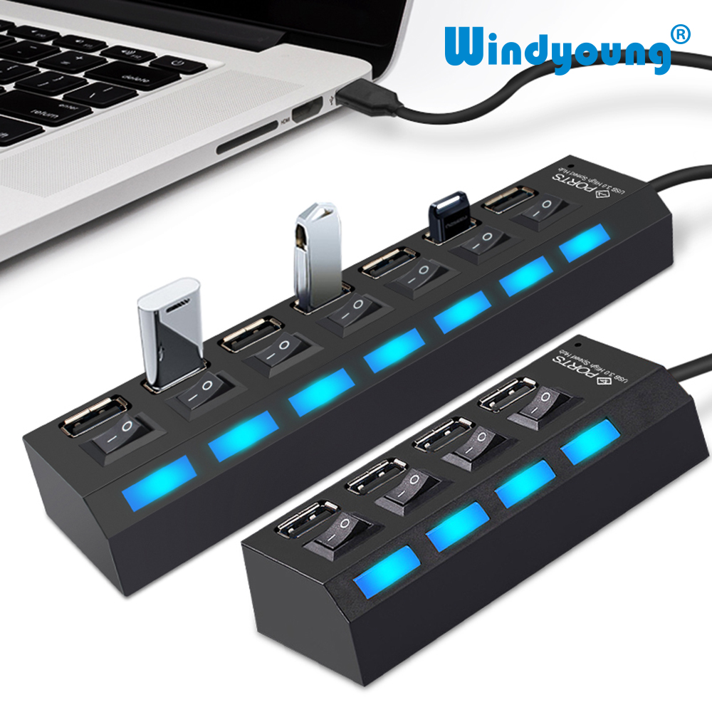 USB Hub 2.0 Multi USB Port 4/7 Ports Hub USB High Speed Hab Adapter With On/off Switch USB Splitter For PC Computer Accessories