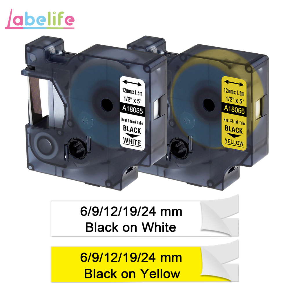 "6 PK 18051 IND Heat-Shrink Tube Tape for DYMO Dymo LabelManager Printer 6mm 1//4/"""