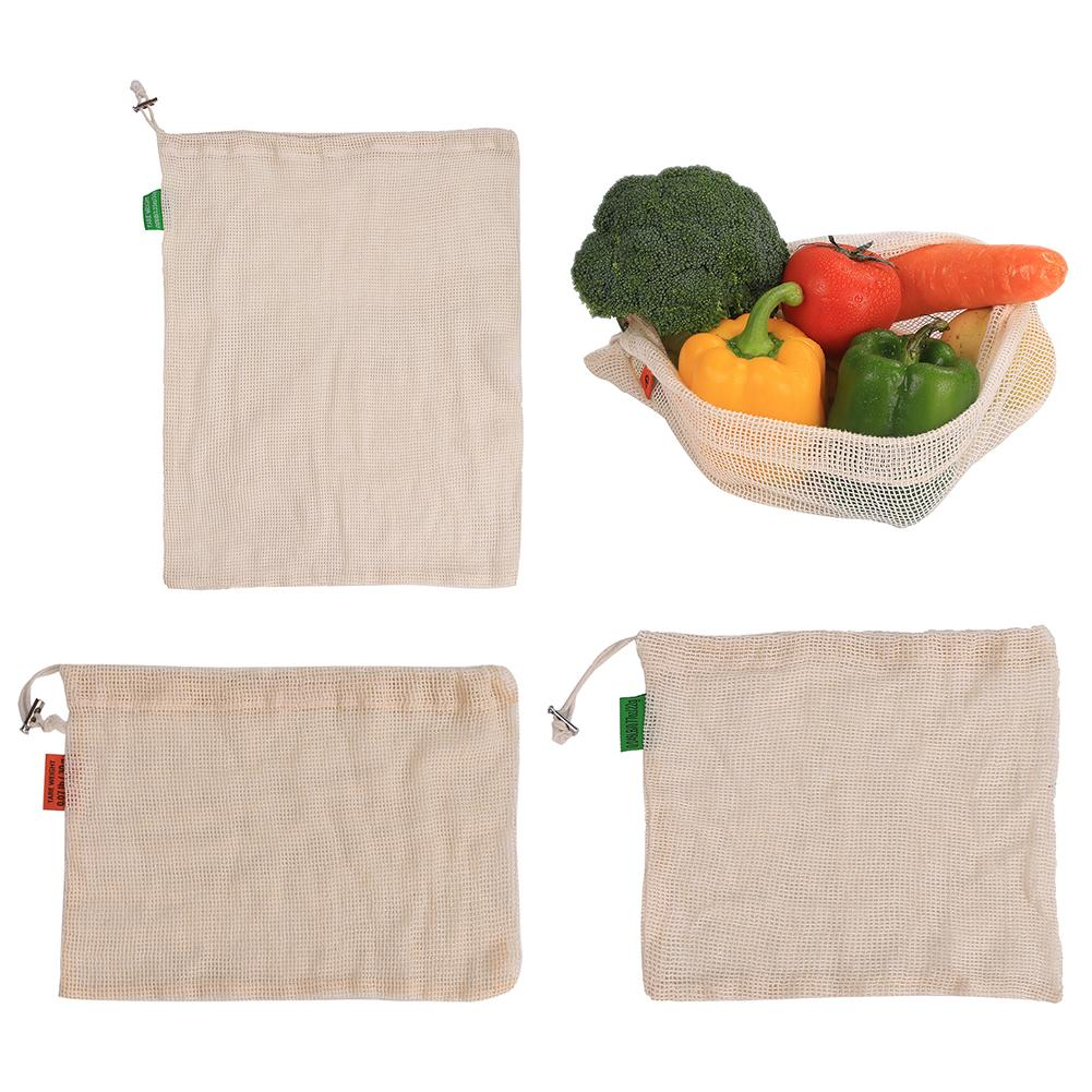 Reusable Kitchen Cotton Vegetable Mesh Bags  For Grocery Shopping Storage Fruit Vegetable Storage Bags With Drawstring Machine