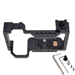 Camera Cage for Sony Alpha A6300 / A6400 / A6500 / A6000 Camera with 1/4 3/8 Thread Holes ,with Cold Shoe Mount Adapter