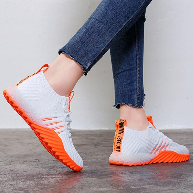 2019 женские кроссовки на платформе; Цвет черный, оранжевый, зеленый, белый; обувь на массивном каблуке; кроссовки из сетчатого материала для тенниса; Feminino; повседневная обувь; FM A22