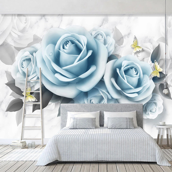 Custom Photo Wallpaper For Bedroom Walls 3D Blue Rose Flower Butterfly Modern Living Room Restaurant Decoration Wall Mural Paper custom 3d wall murals wallpaper modern art mural living room bedroom restaurant wall decoration wolf photo wall paper painting