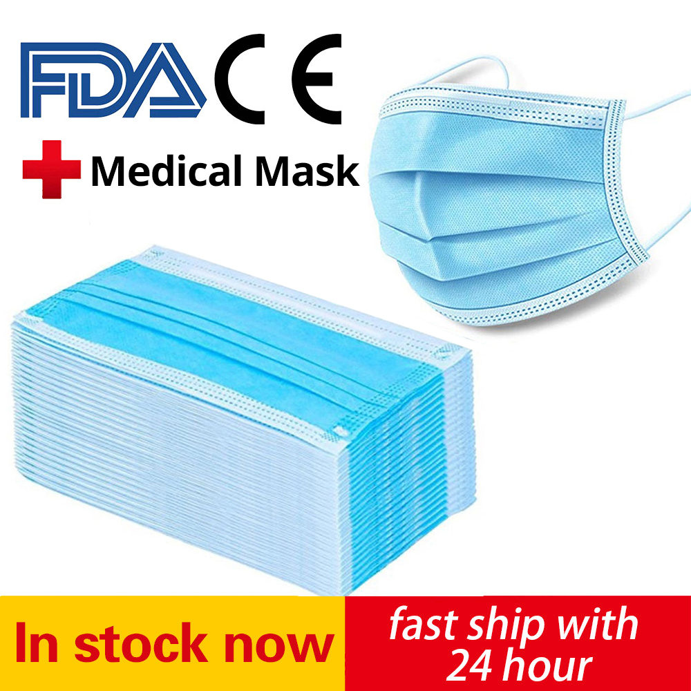 100PCS Disposable Mask Face Mouth Anti Dust 3 Layers Filter Earloop Non Woven Dustproof Mouth Mask Fast Delivery