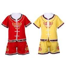 Conjunto de pantalones cortos de manga corta cómodos para niños de estilo chino Vintage de algodón 100%