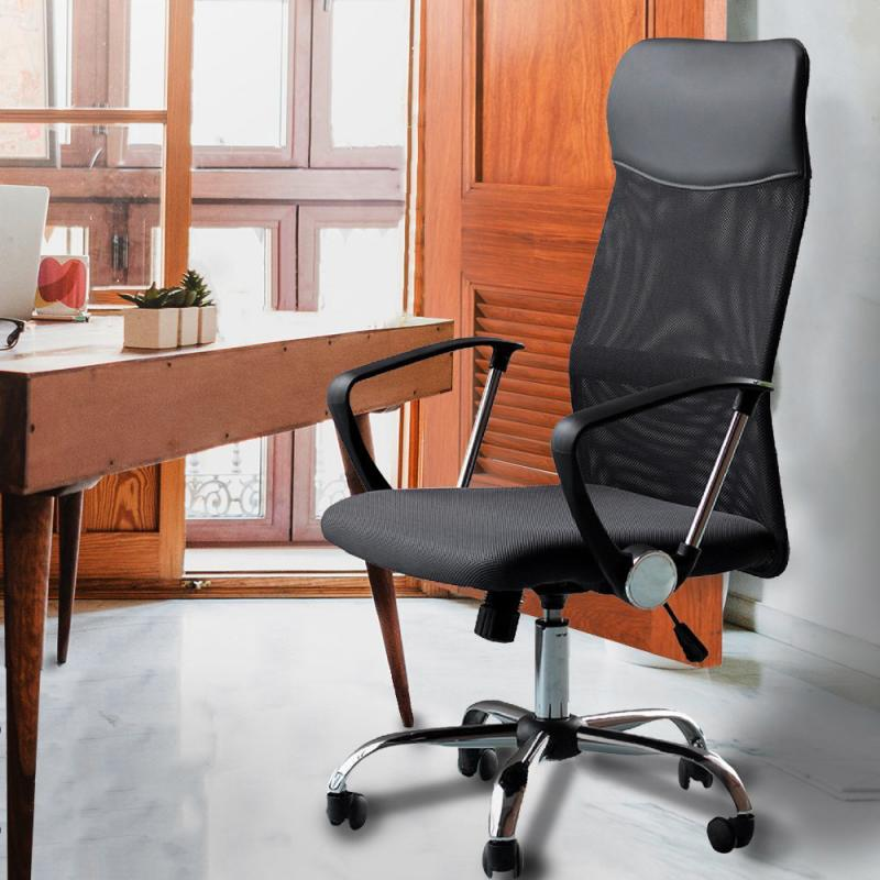 Office Chairs Black Simple Mesh Back Office Chair High Back Computer Desk Task Executive Ribbed Play Gaming Chair Furniture HWC(China)