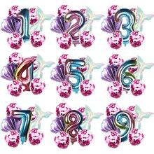Mermaid Birthday Party Balloon Decoration Number Balloon Decor 1 2 3 4 5 6 7 8 9 years kids Birthday Party Supplies Balloon