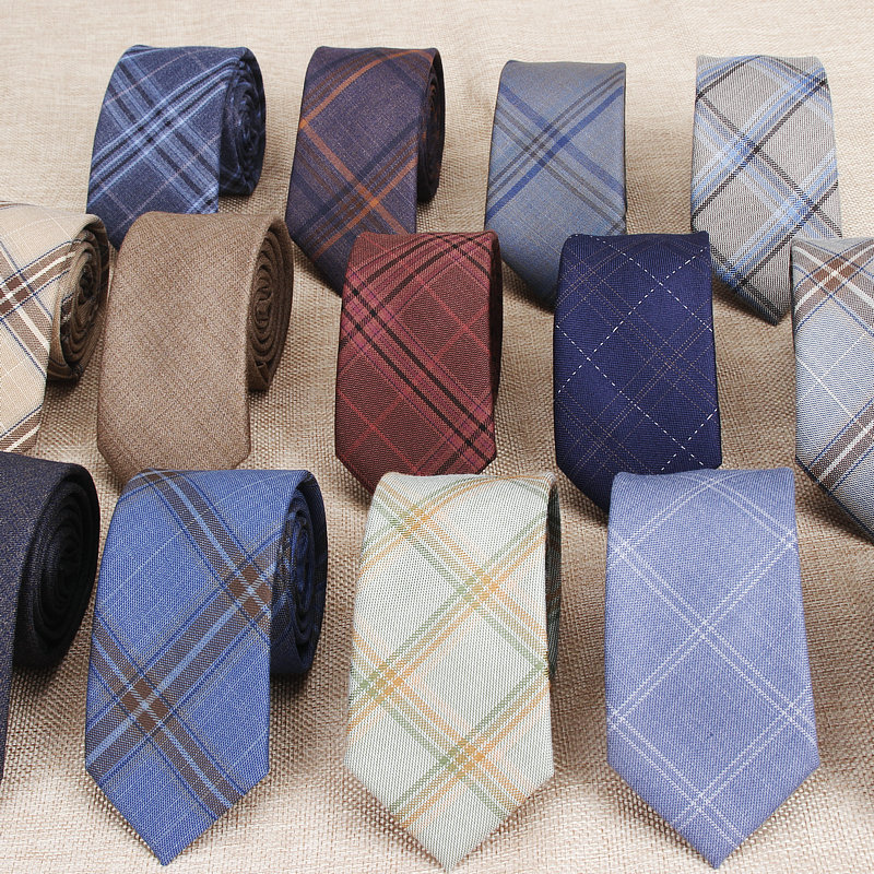 Fashion Men's Colourful Tie Cotton Formal Shirts Solid Ties Necktie Narrow Slim Skinny Cravate Casual Neckties For Man Plaid Tie