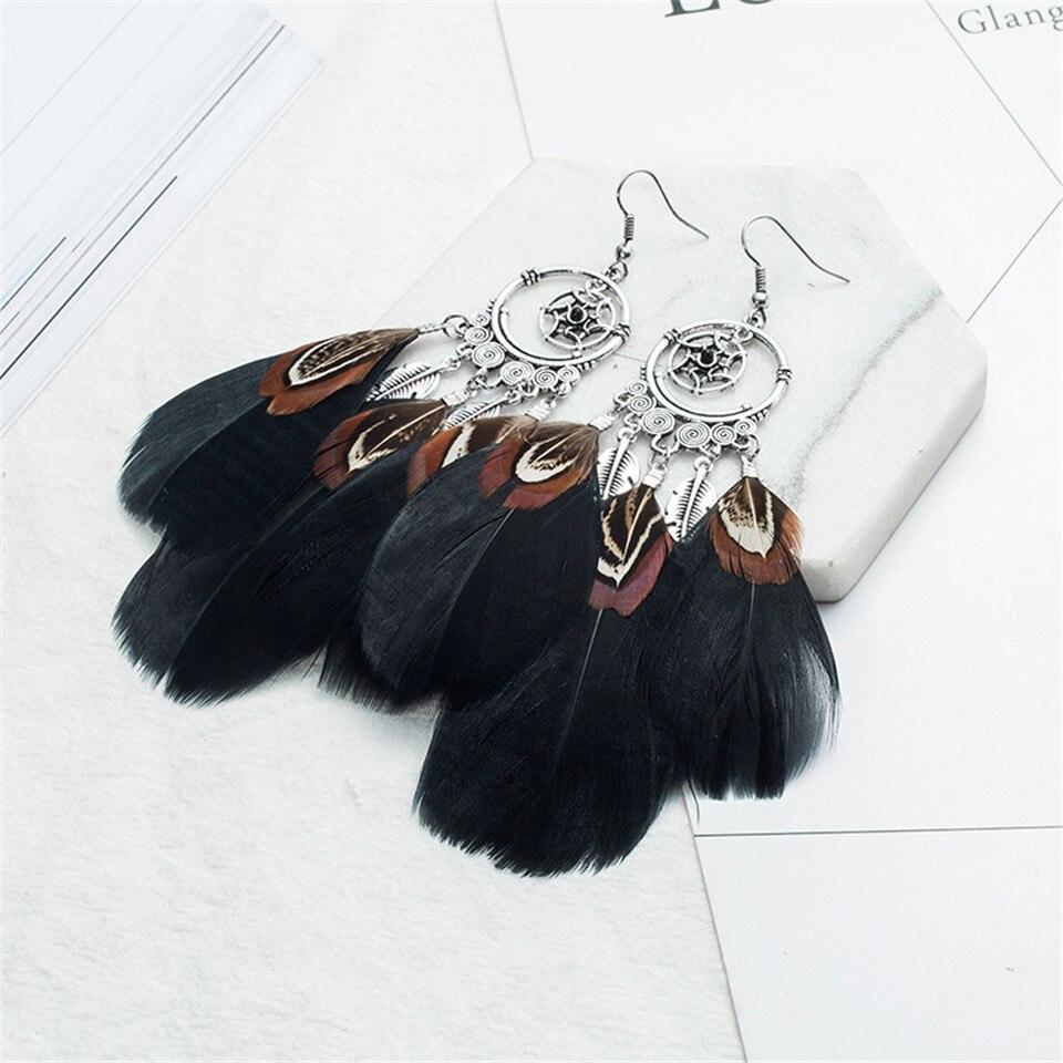 Sterling Silver Bohemia Vintage Dream Catcher Long Feather Drop Earrings