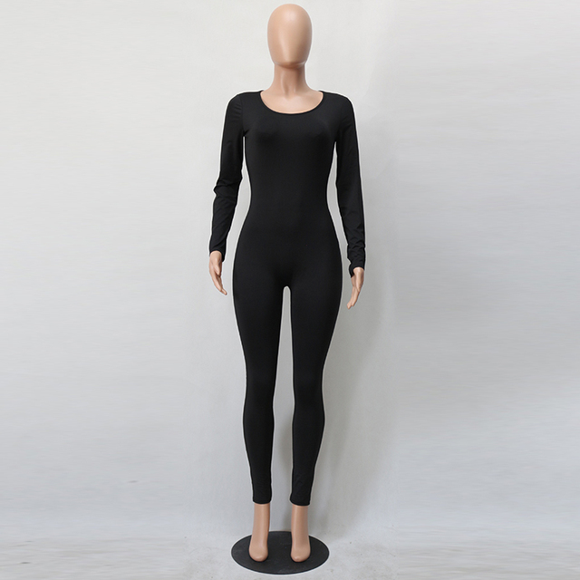 Sexy White O Neck New Bodycon Jumpsuit Long Women 2020 Fashion Pants Color New long sleeve Red Solid Black Wine Jumpsuits Romper 1