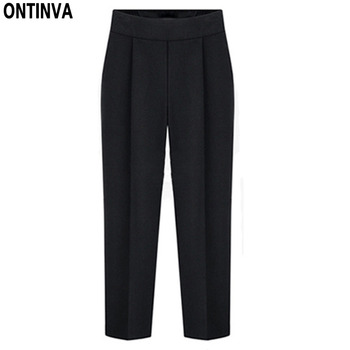 2020 Ladies Black Casual Pants Plus Size 5XL 4XL Women Fashion Ankle Length Pantalon Knitted Trousers Spring New Arrival