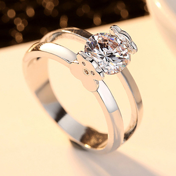 2020 New Wedding Engagement Rings for Women Silver Cute Bear Cubic Zircon Party Big Fashion Female Rings Jewelry Gift