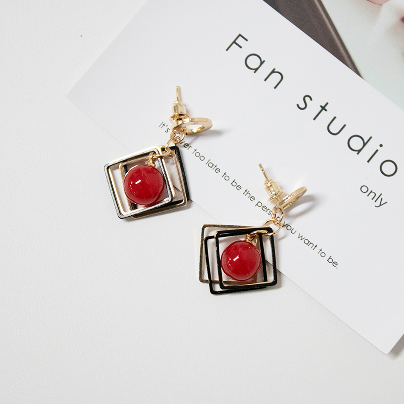 Women's Fashion  Jewelry Earrings DIY Statement Geometric Circles Square Red Simulated-pearl Drop Earrings Women Jewelry Earring
