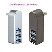 Aluminum Alloy Mini 3 Port USB 3.0 Hub Rotary USB Splitter Adapter for PC Laptop