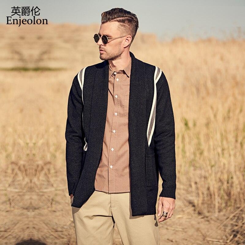 Enjeolon 2019 Men's Sweaters Autumn Winter Men Cardigans Warm Cashmere Wool Sweaters Man Casual Knitwear Plus Size MY3245